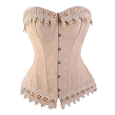 E&D Women Cream Pink Bustier Top Burlesque Basque Moulin Rouge Shaper Boned Corset (XL / UK 12, Cream