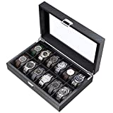 CRITIRON 12 Slot Caja para Relojes de Fibra de Carbono, Organizador de Relojes para Hombres, Caja para Relojes y Joyas, con Tapa de Vidrio Acrílico, Negro