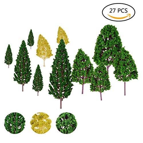 TankerStreet 27 Stück Gemischte Modell Bäume Mini Baum Züge Eisenbahnen Architektur Modellbäume Landschaft Architektonische Modell Bäume Künstliche Büsche für DIY Handwerk Garten 2,5 -16cm