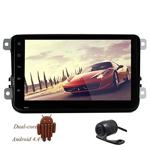 8inch Quad Core da 1,6 GHz unitš€ principale doppio Android di baccano Stereo Volkswagen 1024 * GPS pannello capacitivo Tablet completa 600 Input navigazione Bluetooth 3G WIFI DVR Specchio di collegamento inverso Camera (No-DVD) + CANBUS Free HD Camera