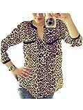 Rovinci_Femme Chemise Shirt Blouse Sweat Sweater Manches Longues Imprimé léopard Mousseline Casual Mode Tunique Classique Sexy