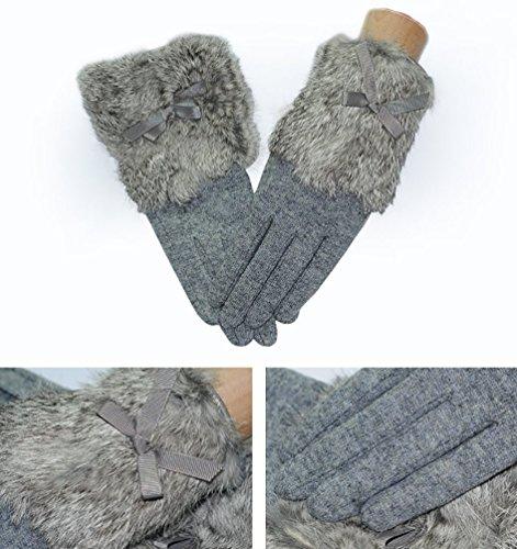 NiSeng Femmes Chauds Hiver Tricoter des Gants Comfortable Gants en Coton Doux Mitaine Gris