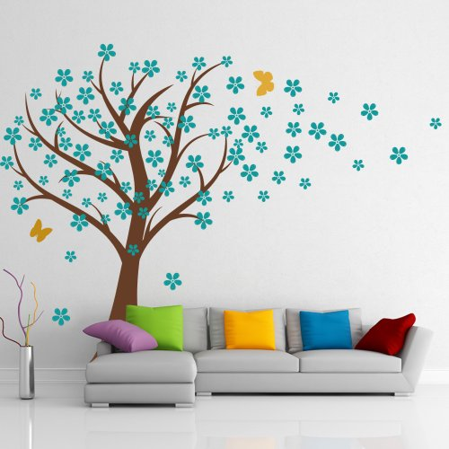 Preisvergleich Produktbild Cherry Blossom Wall Decal Kids Wall Art Baby Nursery Wall Decal- Trailing Cherry Blossom Tree With Butterflies 1(tree trunk:Brown;flowers:Teal;butterflies:Light Yellow) by WallsUp