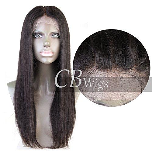 Cbwigs Glueless Brazilian Remy Natural Straight 360 Lace Wig (12 inch 150% density, 1B)
