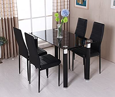 OSPI Black Tempered Glass Dinner Table & leather cover Chairs sets -1 Table with 4 Chairs - cheap UK light shop.