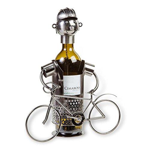 HC-Handel 923339 Metall-Flaschenhalter Fahrradfahrer 19 x 19 cm silber