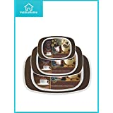 InddusHome® - Brown Symphony Serving Tray Set Of 3 Pcs, Elegant & Sleek Design With Fine Edge - Large, Medium, Small
