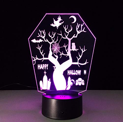 (Creative Halloween Decorations Tree Led Lamp Usb Night Light With 7 Color Change 3D Illusion Table Lamp For Children)