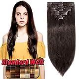 Extension a Clip Cheveux Naturel en Lot Pas Cher 10 Pcs - 100% Vrai Cheveux Humain Remy Hair - Volume Standard (#2 CHATAIN FONCE, 14'16'18')