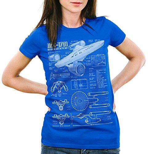 style3 NCC-1701 Damen T-Shirt christopher pike trek trekkie star, Farbe:Blau;Größe:2XL (Jeans Star Big Premium)