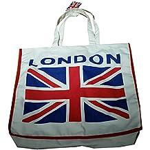 Union Jack Stampa Su Tela Borsa per la spesa, colore: bianco cotone, Londra Souvenir