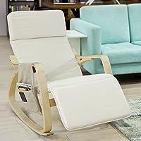 SoBuy FST16-W Fauteuil à bascule avec repose-pieds réglable design, Rocking Chair, Fauteuil relax, Bouleau Flexible (Beige) + une pochette latérale gratuite !