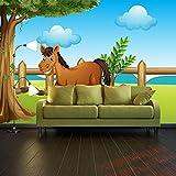 Fototapete Pferde auf der Wiese Vlies Tapete Wandtapete - Tapete - Moderne Wanddeko - Wandbilder - Fotogeschenke - Wand Dekoration wandmotiv24 Größe: XL 350 x 245 cm - 7 Teile - Vlies