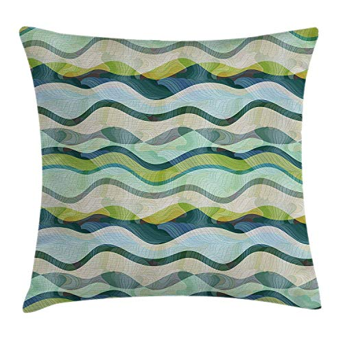 Ocean Throw Pillow Cushion Cover, Wavy Shapes Abstract Design Ombre Like Sea Themed Colored Image, Decorative Square Accent Pillow Case, 18 X18 Inches, Sea Foam Pale Green and Olive Green 20x20 inch
