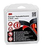 3M Dual Lock 7100123347 Hook & Loop Sistema di Fissaggio Richiudibile ad Alte Prestazioni per Applicazioni Interne, 25mm x 1.25m, Nero, Confezioni da 2