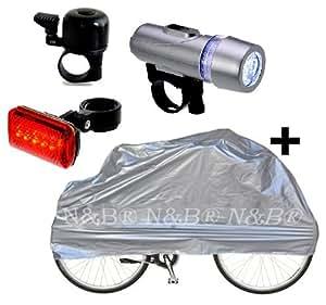 Fahrrad-Set Abdeckplane Fahrradklingel und LED Fahrradbeleuchtung
