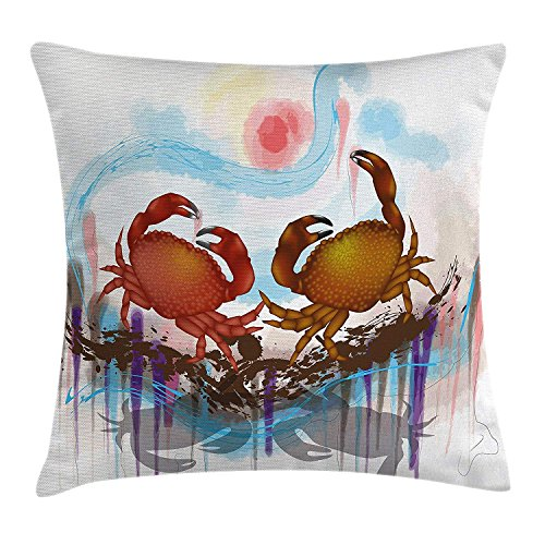 Pillow Cushion Cover, Sea Animals Theme Two Crabs Dancing on The Abstract Grunge Background Print, Decorative Square Accent Pillow Case, 18 X 18 Inches, Brown Pale Blue ()