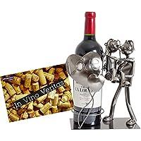 BRUBAKER Porte-bouteille de Vin décoratif - Sculpture en Métal - Idée cadeau - Couple d'amoureux