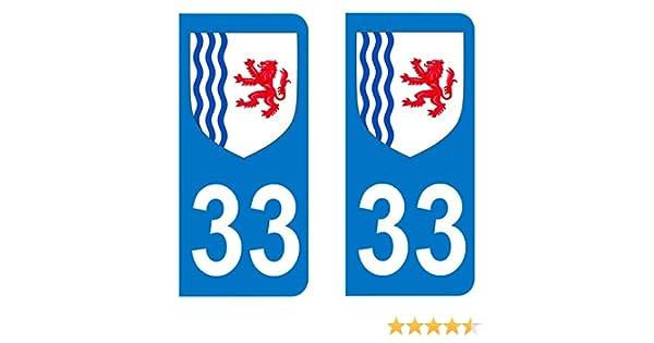 Paire Sticker immatriculation 33 Blason Nouvelle Aquitaine