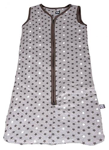 Baby Schlafsack mit Reißverschluss Babyschlafsack ohne Ärmel Sterne Muster Grau IW051, Grau, 70