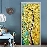 XIAOXINYUAN DIY Ölmalerei Stil Baum 3D Tür Aufkleber PVC Wasserdichte Türen Poster An Der Wand Aufkleber Aufkleber Für Wohnzimmer Schlafzimmer Home Decor