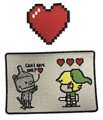 8-Bit-Herz & Tin Man Video Game Set of 2 Die Cut Embroidered Iron on Patch Aufnäher