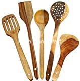 #1: R Crafts Handmade Wooden Non-Stick Serving And Cooking Spoons Kitchen Tools Utensil, Set Of 5