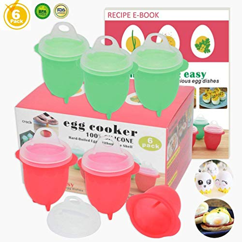 Microwave Egg Cooker-Silicone Hard&Soft Boiled Egg Maker,100% Pure Silicone Egg Poacher,Boil Eggs Without the Egg Shell AS SEEN ON TV,Recipe E-BOOK Included(New Upgraded Egg Cooker)