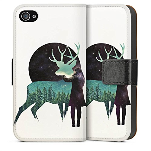 Apple iPhone SE Housse Outdoor Étui militaire Coque Cerf Fille Lune Sideflip Sac