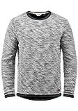 !Solid Flocks Herren Sweatshirt Pullover Flocksweat Pulli Mit Rundhalsausschnitt Aus 100% Baumwolle, Größe:XXL, Farbe:Black (9000)