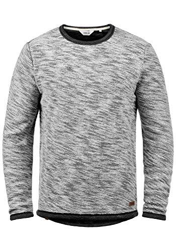 !Solid Flocks Herren Sweatshirt Pullover Flocksweat Pulli Mit Rundhalsausschnitt Aus 100% Baumwolle, Größe:L, Farbe:Black (9000)