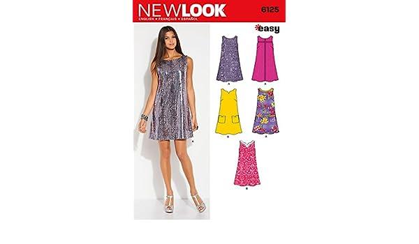 New Look Easy Sewing Schnittmuster für Damen-Kleid, 6125: Amazon.de ...