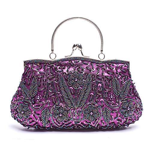 VENI MASEE DamenHandgemachtePerleHandtasche,AbendtascheDamenClutchFürParty - Perlen-geldbörse Handtasche Tasche