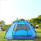Automatische Geschwindigkeit öffnen Sechseckigen Zelt Klappzelt 5 bis 8 Personen Camping Zelt Camping Doppel Doppeltür Zelt,Blue