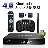 GooBang Doo Android 7.1 Smart TV Box, 2019 XB-III Boîtier TV 2Go RAM 16Go ROM Quad Core Réel 4K H.265 WiFi 2.4GHz Bluetooth V4.0 avec Mini Clavier(QWERTY) Touchpad sans Fil