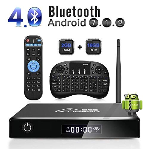 GooBang Doo Android 7.1 Smart TV Box, 2018 XB-III Boîtier TV 2Go RAM 16Go ROM Quad Core Réel 4K H.265 WiFi 2.4GHz Bluetooth V4.0 avec Mini Clavier(QWERTY) Touchpad sans Fil