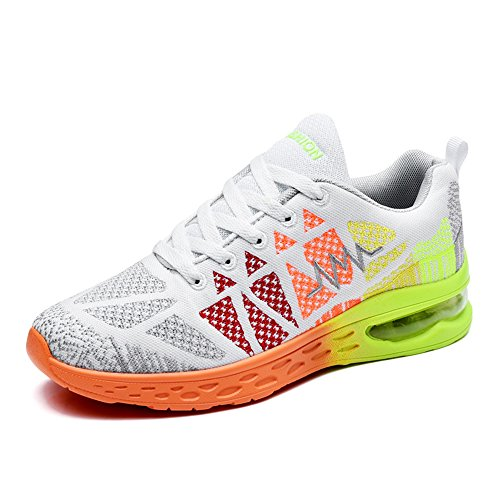 Bainasiqi Femmes Chaussures De Course Respirant Gymnastique Sport Running Sneakers Fitness Chaussures De Marche Occasionnels Extérieur Blanc-orange