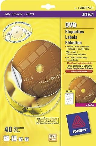Avery-Étiquettes pour CD/DVD Laser Mono 2 Par feuille-Diamètre 117 mm-DVD-Blanc mat-Réf 7860–20 étiquettes 40 l