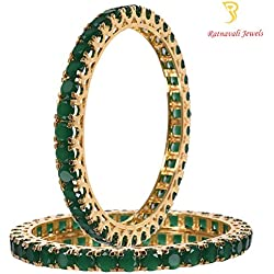 Ratnavali jewels American Diamond Studded Gold Plated Traditional Green Emerald Round 6mm CZ/Diamond Bangles for Women/Girls RV1954