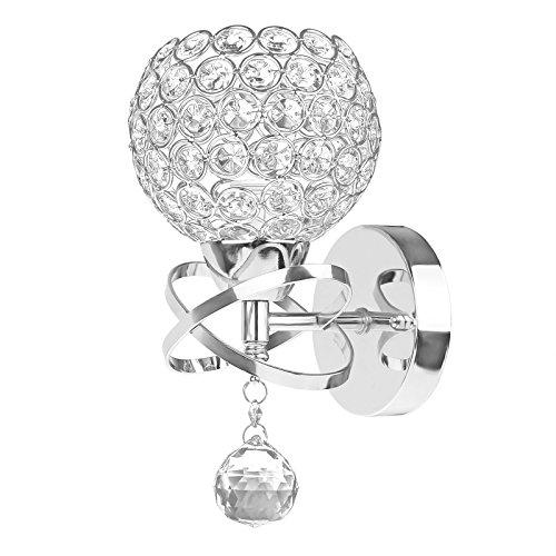 ALLOMN Moderne Stil Kristall Anhänger Wandleuchte Schlafzimmer Gang Wohnzimmer Wandleuchte Halterung E14 Sockel Silber - Kristall-wand-lampe