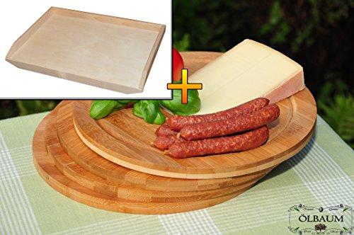 Buche - SPÜLMASCHINENFEST '*' -Frühstücksbrett - massive, hochwertige ca. 16 mm starke Teigbrett natur, mit abgerundeten Kanten, Maße viereckig je ca. 50 cm x 55 cm x 16 mm & 4x Schneidebrett - massive, hochwertige ca. 12 mm starke Picknick Grill-Holzbretter mit Rillung natur, dunkles Bambus, Maße rund je ca. 25 cm Durchmesser als Bruschetta-Servierbrett, Brotzeitbretter, Steakteller schinkenbrett rustikal, Schinkenteller von BTV, Brotzeitteller Bayern, Wildbrett, Wildbret,