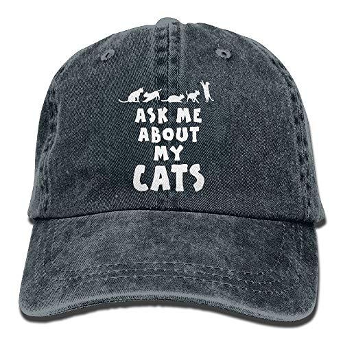 Preisvergleich Produktbild Paint0 Ask Me About My Cats Cotton Adjustable Jeans Cap Leisure Hats for Man and Woman