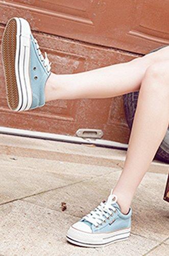 Aisun Damen Canvas Jeans-Optik Plateau Schnürer Sneaker Hellblau