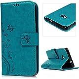 Lanveni® PU Ledertasche Drucken Hüllen für Microsoft Lumia 535 Case Flip Cover Telefon-Kasten Handyhülle Bookstyle Wallet Brieftasche Card Slot Handycase Blau