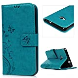 Lanveni PU Ledertasche Drucken Hüllen für Microsoft Lumia 535 Case Flip Cover Telefon-Kasten Handyhülle Bookstyle Wallet Brieftasche Card Slot Handycase Blau