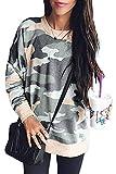 DOKOTOO Womens Casual Camouflage Crew Neck Sweatshirt Long Sleeve Baggy Oversized Jumpers Tops Khaki Size 12 14