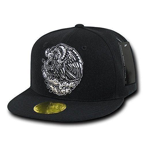 Eagle Flat (Nothing Nowhere Flat Bill Mexico Eagle Cap, Black by Decky Brands Group)