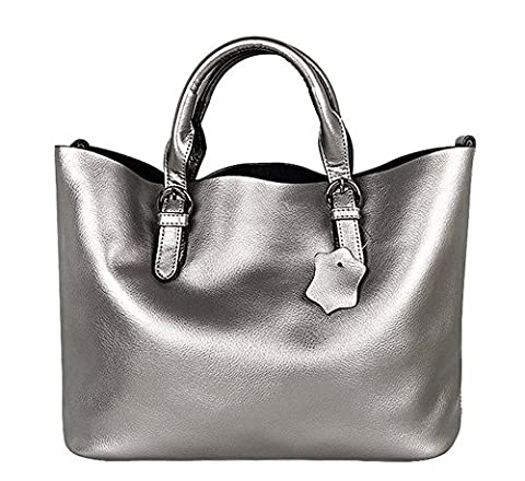 YAAGLE Classical Genuine Leather Totes Handbag Shoulder Bag for Women and Girls