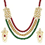 Shining Diva Jewelry Pearl Kundan Fancy Party Wear Necklace for Women Traditional Jewellery Set with Earrings for Women & Girls