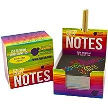 Mini Bloc de Notas Mágico con Hojas de Rascar de Purple Ladybug Novelty | 150 Cartulinas Negras Rascables Para Dibujar con Niños, Manualidades, Escribir Listas | Incluye 2 Lápices | Fondo Arcoiris